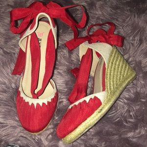 JustFab Red Lace Wedges